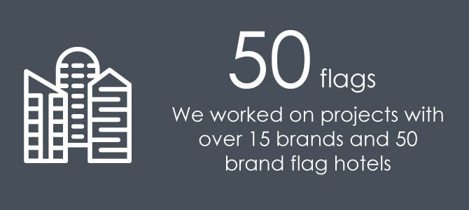50 flags - We worked on projects with over 15 brands and 50 brand flag hotels.